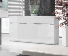 aspire high gloss white sideboard chest cabinet storage unit lounge furniture