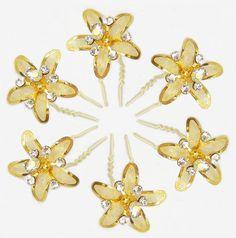 Set of Six White Stone Studded Golden Metal Flower Hair Pin (Metal)
