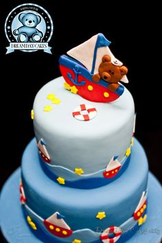 Bear Boat Cake for a Baby Shower. Dream Day Cakes. edible-art