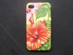 Red Cha Ba Thailand flower decoupage case  for iPhone4/4s/Cover case / Hard Case / Accessories / smartphone on Etsy, ฿463.26