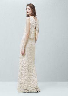 vestido comprido guipura da mango para noiva boho