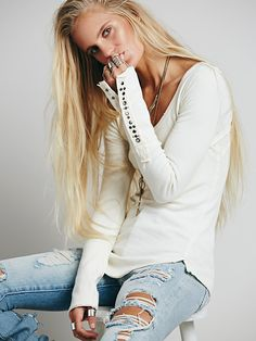 I really love Free People long sleeve tops with details such as this, so cute! Free People We The Free Studded Heart Cuff, $68.00