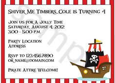 Adorable pirate party invites, and they are available with matching thank yous, favor tags, banners, and more. Printed or print your own!