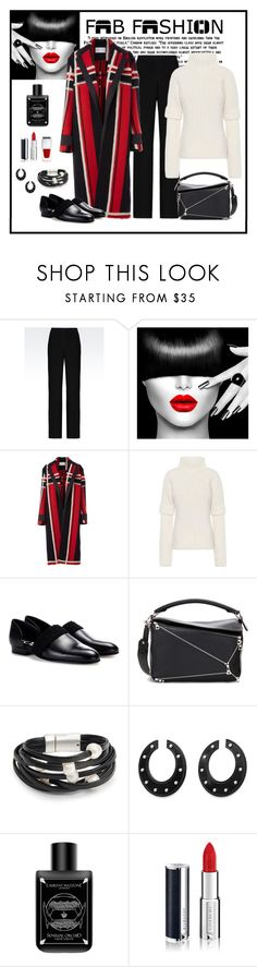 """""""Amanda Wakeley Mohair Jacquard Coat Look"""" by romaboots-1 ❤ liked on Polyvore featuring Armani Collezioni, Amanda Wakeley, Victoria Beckham, Loewe, Design Lab, LM Parfums and Givenchy"""