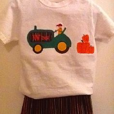 Corduroy pants, $18, appliqued tractor, pumpkins, and name embroidered, $22 www.memescreations.webs.com