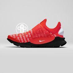 Supreme x Nike Sock Dart Red Nike Trainers, Sneakers Nike, Nike Shoes