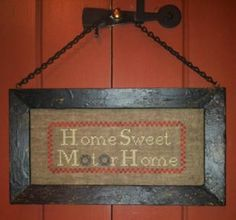 """""""Home Sweet Motor Home"""" is the title of this cross stitch pattern from Needlework Press - perfect for the campers in your family."""
