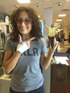 """#flatkojo goes Hollywood coming home from #dnc2012 with Lisa Edelstein of """"House"""" fame."""