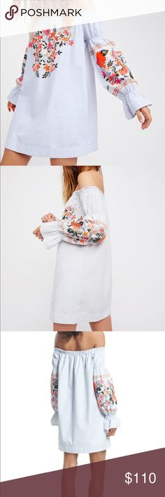 Free People Enchanted Garden Mini Dress Brand New Never worn free People dress! This is the only color sold out online!!! The embroidering is stunning and this dress has pockets!!!! It's a flowy dress so could fit a medium or large. Price is not final make me an offer Free People Dresses Mini