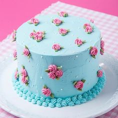 Pink and blue buttercream rosette cake