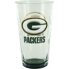 Green Bay Packers Elite Pint Glass!  A sixteen ounce glass is nice, but a glass sporting your favorite team's logo is even nicer! This pint glass from Boelter Brands sports the Green Bay Packer logo for all to see whenever you whip this glorious glass out of storage. Handwash is recommended.   Available for $14.99! Green Bay Packers Merchandise, Green Bay Packers Logo, Pint Glass, Nice, Storage, Tableware, Sports, Purse Storage, Hs Sports