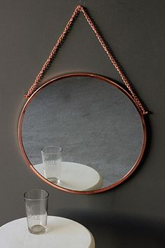 Bonlina Copper Circular Mirror on Chain Rockett St George Copper Design, Home Accessories, Mirror Table, Rockett St George, Bathroom Mirror, Copper Accessories, Circular Mirror, Hanging Mirror, Funky Bathroom