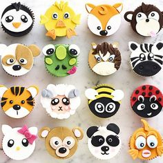 Double-sided paste and fondant icing cutter. Easily create hundreds of different animal faces. Perfect for decorating cookies and cupcakes. Cupcake Tier, Cupcake Day, Fondant Cupcake Toppers, Cupcake Cakes, Rose Cupcake, Dog Cakes, Jungle Cupcakes, Kid Cupcakes, Animal Cupcakes