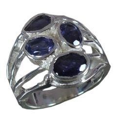 925 Solid Sterling Silver Ring Natural Iolite Gemstone US Size 6.25 JSR-654 #Handmade #Ring