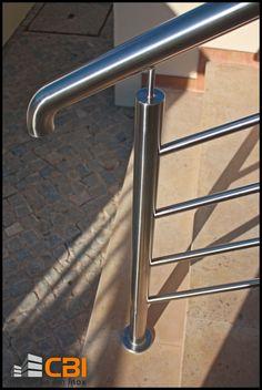 Inox Algarve  www.cbi-lda.com geral@cbi-lda.com Wooden Staircase Railing, Steel Stair Railing, Stair Railing Design, Iron Staircase, Interior Staircase, Steel Stairs, Veranda Railing, Balcony Railing, Stainless Steel Railing