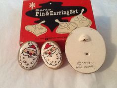 Extremely Rare Find Signed Holt Howard Santa Pin and earrings by RedBarnGarden