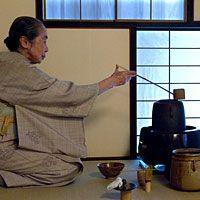 Furo Season (brazier on floor to left) Woman Performing Japanese Tea Ceremony