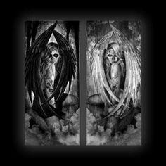 Darkness & Light, Angel of Death & Angel of Light, Heaven or Hell. - Darkness & Light, Angel of Death & Angel of Light, Heaven or Hell….Black and White. Ange Demon, Demon Art, Tattoo Studio, Angel Y Diablo, Angels And Demons, Dark Angels, Fallen Angels, Beautiful Dark Art, Angel Drawing