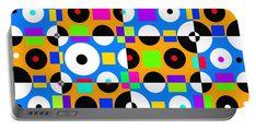 Modern Portable Battery Charger featuring the digital art 1968 Pop Dots 4 by Otis Porritt