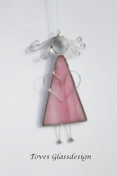 "Items similar to Stained glass angel - ""Little miss Fillifjong"" pink with heart on Etsy"
