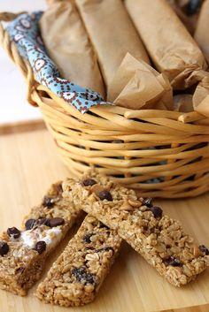 Homemade no-bake, chewy granola bars.