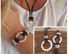 Set of leather necklace, leather Bracelet, Set, Boho, endless Ring, gift, woman leather Jewelry Set, all day Jewelry Set