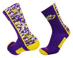 LSU Digital Camo Crew Socks Purple/Gold/White, Mens Large TCK Sports