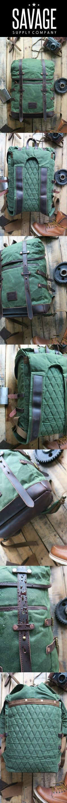 Waxed canvas hiking adventure backpack by Savage Supply Co.