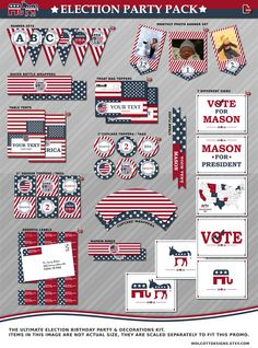 Election party - Election party supplies - Election party decor - Election birthday decorations - Patriate party - Indapendance day party by WolcottDesigns on Etsy