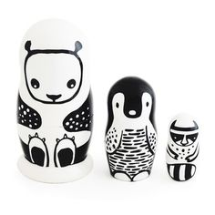 Wee Gallery Black and White Nesting Dolls   Fab
