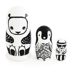 My design inspiration: Black and White Nesting Dolls on Fab.