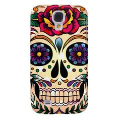 Colorful Retro Skull Flowers & Roses Samsung Galaxy S4 Covers