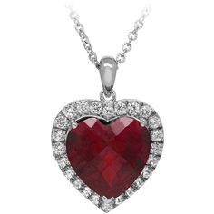 Created Ruby & Created White Sapphire Heart Pendant in Sterling Silver ($130) ❤ liked on Polyvore featuring jewelry, pendants, necklaces, red, long pendant, sterling silver round pendant, ruby jewelry, heart pendant and red pendant