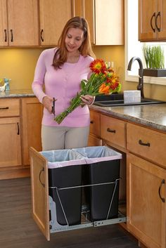 Double 8.75 Gallon Roll Out Waste Container
