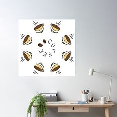 """""""8 Hour Coffee Clock Work Day"""" Poster by Pultzar   Redbubble"""