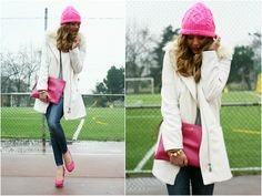 Notes: Skinny blue jean with light color accent on thighs. White open coat on a grey shirt. Bright pink hat matches bright pink large clutch and closed toed heels. Gold studded bracelet and caramel colored braided bracelet.