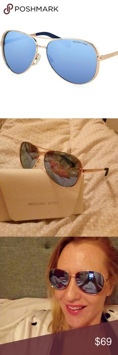 GUC Michael Kors 5004 Rose Gold Aviator Sunglasses Get a timeless must have look with this pair of Authentic Michael Kors MK5004 100322 Chelsea Aviator Sunglasses in Rose Gold Blue Mirror Polarized lenses.  Lenses: 8/10 Some minor spots and scratches are noted on both lenses, slightlyvisible when worn, 1 small scratch on the right lens may be slightly apparent. Does not obstruct the view of wearer. Frame: 9/10 a couple tiny scratches on the frame are not severe in size, only visible when…