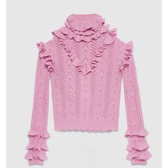 Gucci Wool Knit Ruffle Top (€1.335) ❤ liked on Polyvore featuring tops, sweaters, purple, flutter-sleeve top, purple sweater, pink knit sweater, ruffle sweater and pink top