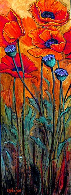 """""""Big Red"""" acrylic poppy flower by Carol Nelson Contemporary Abstract Art, Modern Art, Red Poppies, Poppies Art, Poppies Painting, Yellow Roses, Pink Roses, Arte Floral, Acrylic Art"""