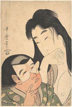 Yamauba and Kintoki  Kitagawa Utamaro  (Japanese, 1753–1806)  Period: Edo period (1615–1868) Date: ca. 1795 Culture: Japan Medium: Polychrome woodblock print; ink and color on paper