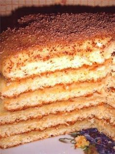Lemon Orange Cake Recipe -I love to bake this lovely three-layer cake instead of a more traditional pie for Thanksgiving. It has that tangy Florida citrus flavor and isn't any more difficult to make than a two-layer cake. Russian Cakes, Russian Desserts, Russian Recipes, Baking Recipes, Cake Recipes, Dessert Recipes, Holiday Desserts, Fun Desserts, Graham Cracker Dessert