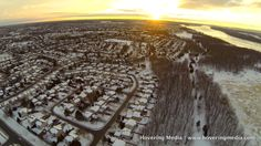 A winter sunset as seen from drone.
