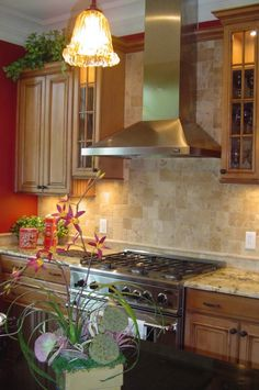 Punchy Red Kitchen, Hi Friends Ive added a few new pics on current  project.  The cabinets are Maple with Ginger stain and a Chocolate Glaze...