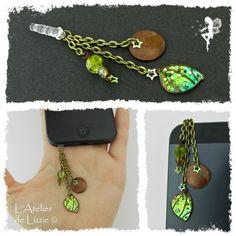 Bijou de téléphone - Mini Aile 1 Marron/VertGivré+Paillettes, Bronze