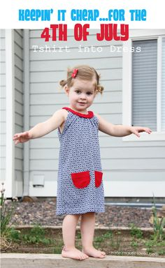 Keepin' it Cheap…for the 4th of July {Turn a Tshirt into Dress w/ Braided Collar}