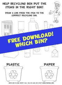 Free activity sheets featuring Recycling Ben!  Download and print the PDF, color, cut, and enjoy.  Includes coloring sheet, maze, word search, matching game, and others.