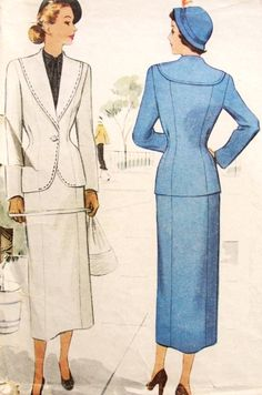 1940s Stylish Suit Pattern McCall 7554 Beautiful Fitted Jacket Nip In Waist Slim Skirt Bust 30 Vintage Sewing Pattern