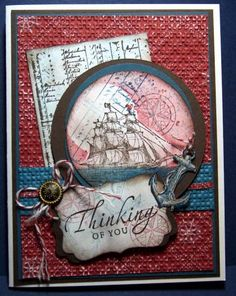 Stampin' Up! The Open Sea by Julie Gearinger - Cards and Paper Crafts at Splitcoaststampers Masculine Birthday Cards, Birthday Cards For Men, Masculine Cards, Stencil, Card Creator, Nautical Cards, Paper Cards, Men's Cards, Fathers Day Cards