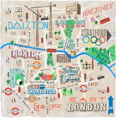 Map of East London by Anna Simmons for National Geographic Traveller Travel Maps, Travel Posters, East Liverpool, Bethnal Green, Old Street, Travel Illustration, City Maps, Map Design, Typography Prints