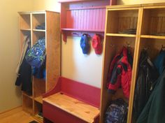 """Customer Testimonial: """"Thanks so much Sawdust City, LLC. Great customer service!!! - Lori Fisher"""" Features 4 of our standard lockers (item# 111) our large boot bench (Item #38) and our wall shelf unit (Item # 5) Check our all of our pieces at www.sawdustcityllc.com"""